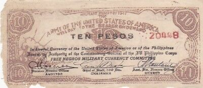 1943 Philippines Negros Army of the USA 10 Pesos Military Script Note, Pick S712