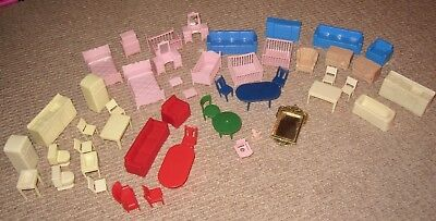 Vintage MARX Dollhouse Furniture Lot of 52 Pieces 1960's