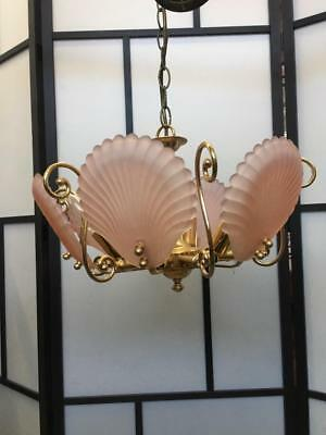 Art Deco 6 Arm Clam Shell Pink Opaque Pressed Glass & Brass Chandelier