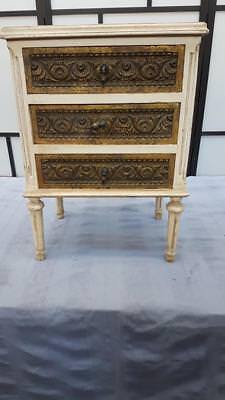 French Style Cream Carved 3 Drawer Bedside Table