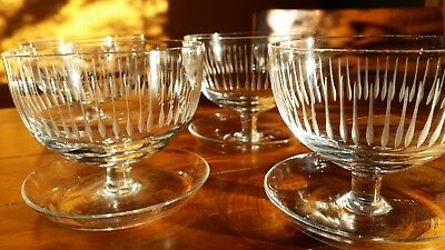 Four Retro Cut Crystal Compote Dishes / Glasses