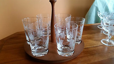 Retro Etched Glass Set with Six Glasses and Timber Serving Stand