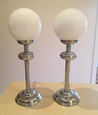 Original Art Deco Chrome Lamps - Rewired Perfect Working Condition