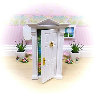 White OPENING FAIRY DOOR - Wood - Removable Background - HANDMADE in Australia