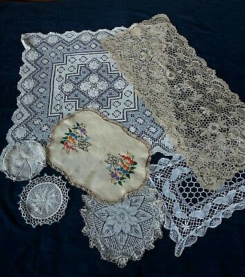 vintage Antique Lace Crochet Tablecloth Embroider Beaded Doily Bundle