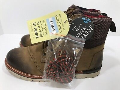 9d87ef8e36a Toms Men s Size 7 Ashland Waterproof Brown Burnished Leather Wool Boots  Shoes