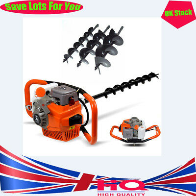 2 Stroke 71cc Earth Auger Post Hole Digger Borer 3*Drill Fence+Extension Pole UK