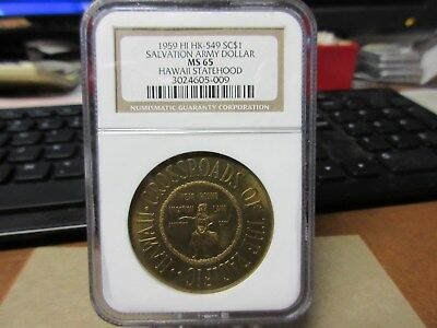 1959 HK-549 Salvation Army Dollar / Hawaii Statehood NGC MS 65