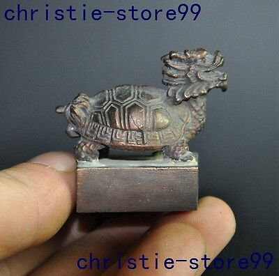Collect Old Chinese fengshui Bronze longevity Dragon turtles Statue seal stamp
