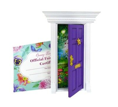 PURPLE OPENING FAIRY DOOR Removable background Wooden SALE Australian Owned