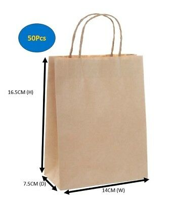 Carry Bags With Handles 50 Bulk Brown Kraft Craft Paper Gift