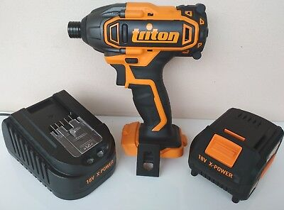 triton 18v impact drill driver + x-power 4ah lithium battery + fast charger