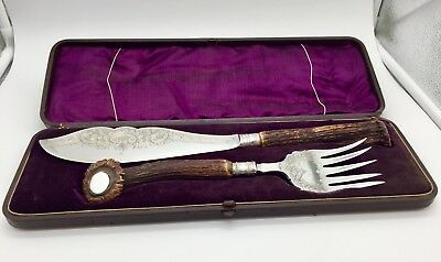 Antique Cased set Of Silver Plated Fish Servers circa 1895