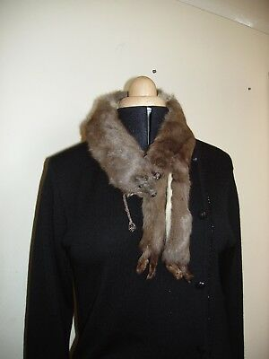 "Vintage Real Fur Collar Wrap Stole with Clip - 33"" long from nose to tail."