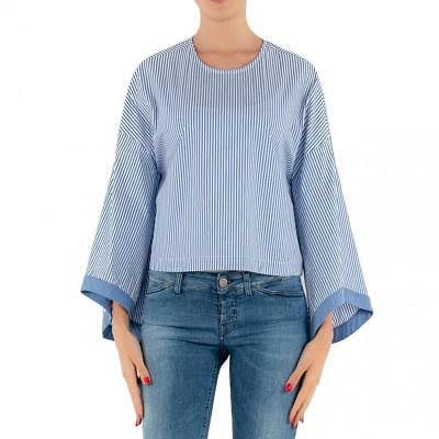 Camicia 17140 Mc105 Made Girocollo Italy Donna Merci Celeste Rigata In Cotone 0wOnkP