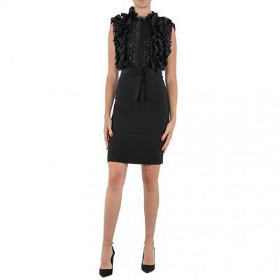 7258ca862a57 ABITO DONNA NORA Barth Nero Tubino Dress Rouches Made In Italy 11015 ...