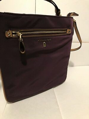 2940bfd2f8a8 MICHAEL KORS KELSEY Nylon Leather Crossbody Bag Purse Damson NWT New ...