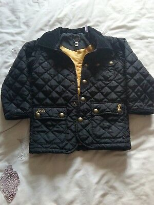 Baby Boys Joules Black Quilted  Jacket Size 3 Years