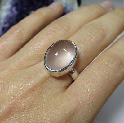 Lovely ROSE QUARTZ Sterling Silver Ring Size 8.25 / Q1/2
