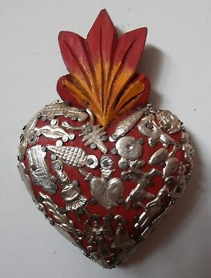 Mexican wall art wood heart with metal Milagros flaming Corazon Mexico folk art