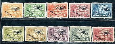Papua New Guinea 1925 10 X Naitive Hut Values To 2/ Airmail Ovpt Mnh/mh/mhr
