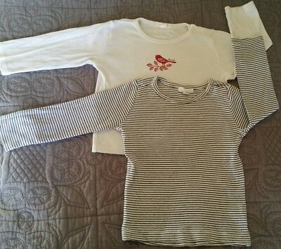 2 x Purebaby long sleeve tops size 1 12-18 months pure baby