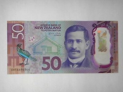 2016  New Zealand  $50 Dollar New Brighter Design Polymer Banknote UNC Condition