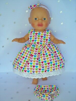 """Dolls clothes for 13"""" My Little Baby Born Doll~COLOURFUL HEARTS DRESS & UNDIES~"""