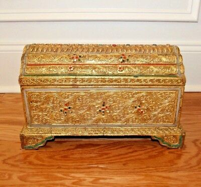 Thailand Thai Folk Art Carved Wood Box / Chest Gold Gilt + Color Glass