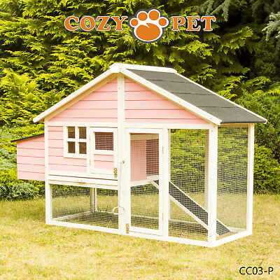 Chicken Coop Cozy Pet Pink Hen House Poultry Ark Rabbit Hutch Run Coup CC03-P
