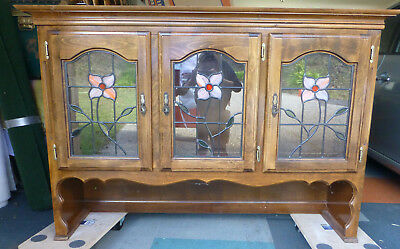 Vintage Solid Stained Timber Kitchen Leadlight Glass Hutch only!! NO BASE