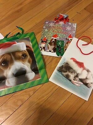 Set Of 3 Basset Hound Holiday Gift Bags New &. Cute!