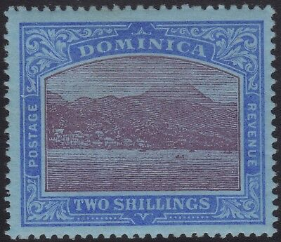 Dominica 1908 2/. purple & deep blue on blue paper, mlh