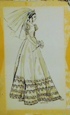 Vintage Original Fashion Illustration. Working Board. Artist Signed