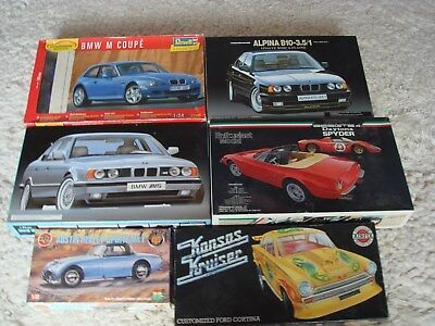 Job lot of 7 model car kits 1/24 and 1/32 scale