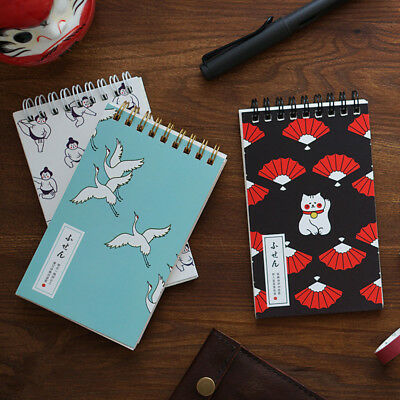 """Japanese Cat Pocket"" 1pc Small Diary Notebook Spiral Memo Journal Grid Freenote"
