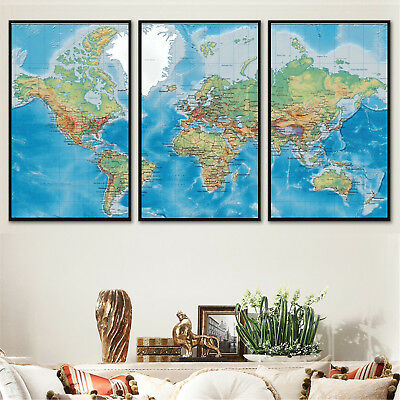 Set 3PCS Art Canvas Print Ocean Geography World Map Paint poster Unframed P24