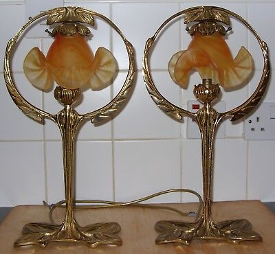 Pair Art Nouveau / Deco Brass Table Lamps Vianne French Glass Shades Leaf Signed