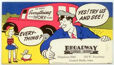 c1940 Broadway Cleaners Ivory Soap comic ad blotter Council Bluffs Iowa