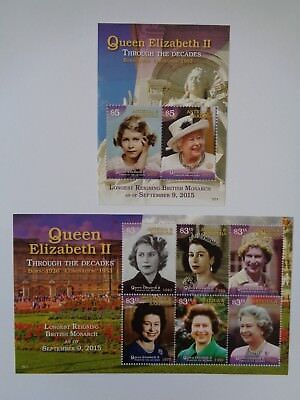 Antigua & Barbuda 2015 Queen Longest Reigning Monarch Pair Of M/s Mint Mnh