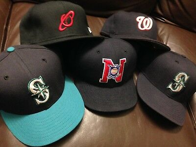 B19 Lot Of 5 Authentic New Era Fitted Hat Cap VTG Nationals Mariners Wool 7 1/2