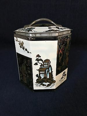 Vintage Peek Frean & Co. Octagon Tin Decorative Asian Theme