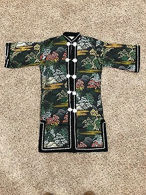 ORIENTAL KIMONO 1960s PHILIPPINES COLORFUL LINED TAG WOMAN ROBE SMALL ASIAN LN