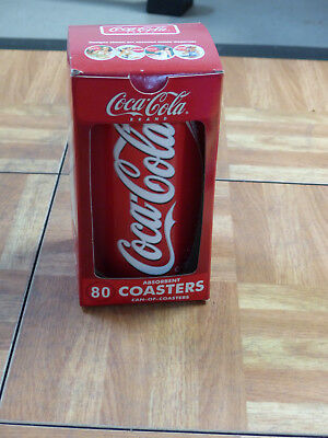 Coca Cola COKE Can of Coasters, 80 Absorbent Coasters, Refillable Can, NIP