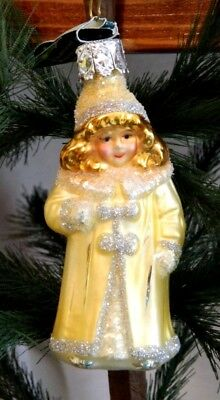 Christborn Little Girl in Yellow Dress  Blown Glass Christmas Ornament  Germany