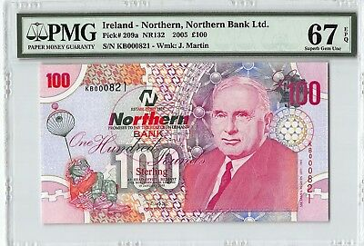 Northern Ireland, Northern Bank 2005 P-209a PMG Superb Gem UNC 67 EPQ 100 Pounds