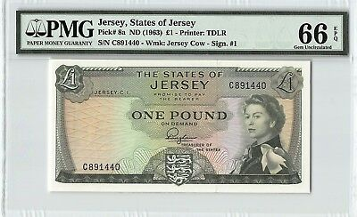 Jersey ND (1963) P-8a PMG Gem UNC 66 EPQ 1 Pounds