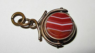 Antique Victorian Edwardian Spinner Fob  2Sided Banded Agate & Black Onyx Brass