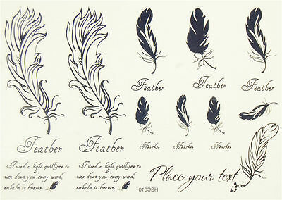Black feather Quill pen Party Temporary Tattoos waterproof Kids Body Art Sticker