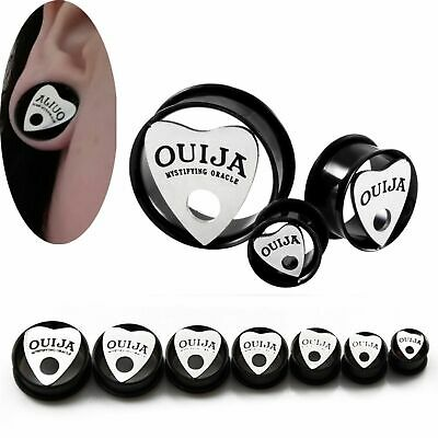 Pair Ouija Planchette Stainless Steel Ear Tunnels O-Ring Gauges Plugs Earrings